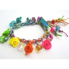 NEON - Multicolored Stainless Steel and Polymer Clay Charm Bracelet -... ❤ liked on Polyvore