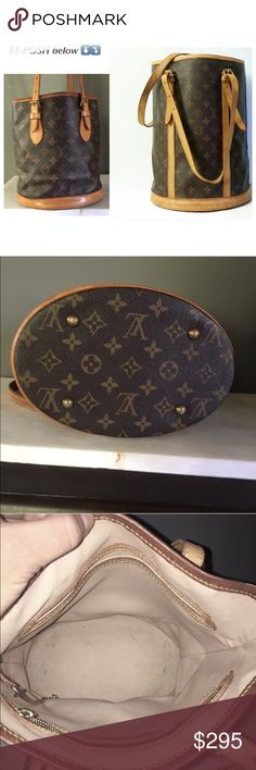 ↩️ Re-Posh ↪️ Authentic Louis Vuitton Bucket Purse Purchased both from 2 different, reliable fellow Poshers. I'm keeping the bigger purse so I'm sadly re-poshing the other.  OUTSIDE- monogram in great condition. No exposed pipings, no rips, etc.  Normal wears of traditional LV, e.g., darkening patina of the leather. INSIDE- area near the top some peeling but well-kept by the previous owner. Straps are well maintained. I bought it without the dust bag or small purse attached to the chain…