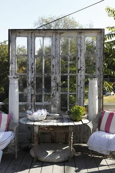 "I Love This Idea...Turn A Boring Deck Into A Fabulous ""Shabby Chic"" Dining Area...Salvage Some Old French Doors   Create A Dream Patio!..."