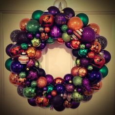 """Chic Halloween Wreath ~ Made To Order ~ Large 21"""" Vintage and New Ornaments ~ Shiny Brite by SugarPlumWreaths on Etsy"""