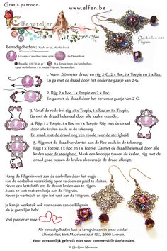 FREE Earring Tutorial from Elfenatelier. Use: 2 two - holed cabochons 6mm, 2 Faceted donuts, 0,5g seed beads 11/0, 16 bicone beads 3mm, 2 metal filigran findings