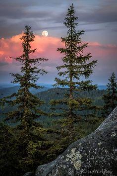 Hermoso cielo multicolor en el horizonte con la silueta de la luna al fondo en Finlandia.