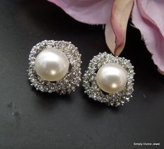 Pearl EarringsBridal EarringsBridal by SimplyDivineJewel on Etsy, $31.00