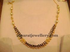 Jewellery Designs: Below 15gms Black Beads Sets Gallery