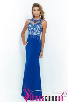 Elegant Sheath Scoop Sleeveless Floor Length Lace Appliques Royal Blue Long Prom Dresses
