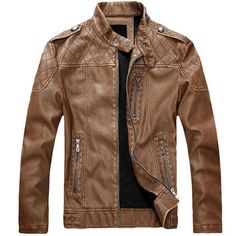 European American Style Thicken Warm PU Leather Jacket Motorcycle Coat... ($69) ❤ liked on Polyvore featuring men's fashion, men's clothing, men's outerwear, men's jackets, men, jackets, yellow, mens slim jacket, mens motorcycle jacket and mens slim fit jacket