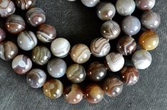 12mm Botswana Agate Beads Smooth Shiny Natural Gemstone (7 beads) Brown, Gray, White Striped Stone Beads Genuine Botswana Agate by TheBeadBandit on Etsy