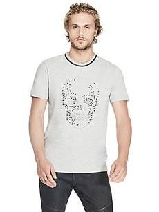 Stream Studded Skull Tee   GUESS.com