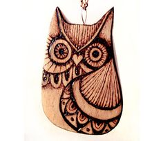Owl Necklace Owl pendant Carved wood Owl by GlenoutherCrafts