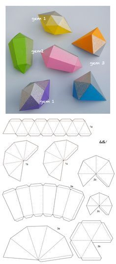 gems (+ templates) papier fragile gems, add glitter or metallic spray paint!papier fragile gems, add glitter or metallic spray paint! Kids Crafts, Diy And Crafts, Craft Projects, Arts And Crafts, Foam Crafts, Origami Paper, Diy Paper, Diy Origami, Origami Folding