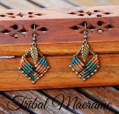 American indian & ethnic earrings macrame chains by TribalMacrame
