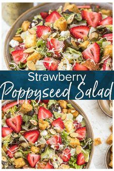 Strawberry Salad with Poppy Seed Dressing - Fresh Summer Salad - Recipes Lettuce Salad Recipes, Summer Salad Recipes, Salad Dressing Recipes, Healthy Salad Recipes, Salad Dressings, Vegetarian Recipes, Healthy Food, Summertime Salads, Easy Summer Salads