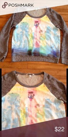 Victoria's Secret palm tree sweatshirt Grey sweatshirt with abstract palm tree print in front. No flaws! Victoria's Secret Sweaters Crew & Scoop Necks