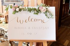Wedding welcome sign - wedding sign flowers - laurel weddings - wedding florist