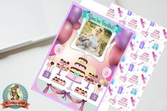 Personalized Pretty Birthday Invitation  5 x 7 in. Purple and Pink, Balloons, Dessert Table, Birthday Cake, Girl by WalkingMombieDesign on Etsy
