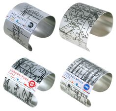 Metro Cuffs. Wear your favorite city on your wrist with these stainless steel metro cuffs from Design Hype. Each public transit map is embossed in black onto a matte background.