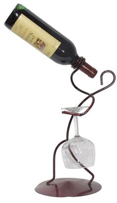 Borracho 1 Bottle Tabletop Wine Bottle and Glass Rack Glass Rack, Wine Glass Holder, Wine Bottle Holders, Bottle Rack, Welding Art, Tabletop, Iron Decor, Metal Projects, Wine Storage