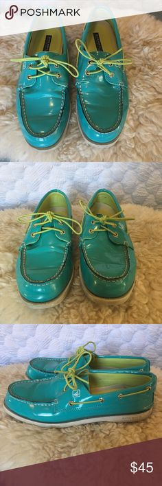 Sperry boat shoes, Aqua patent leather Sperry boat shoes, Aqua patent leather. This is a men's 6 1/2 which is a women's 8 1/2 Sperry Shoes Flats & Loafers