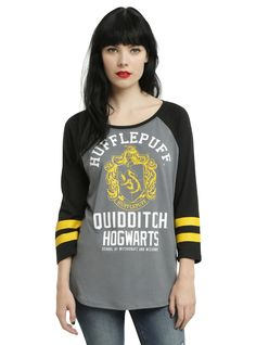 <p>Quidditch now! This grey & black raglan style top from <i>Harry Potter</i> features a Hufflepuff Quidditch athletic design with yellow striped…