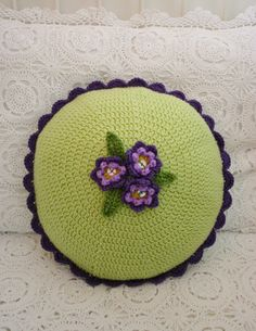 Vintage Violet Crochet Cushion