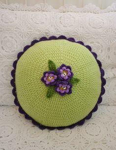 Vintage Violet Crochet Cushion