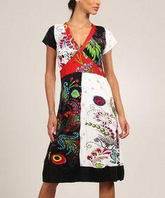 White & Black Floral Color Block Shift Dress