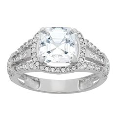 Tiara 10k White Gold 3-row Asscher-cut CZ Halo Ring