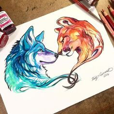 """Wolf and Mountain Lion By: @katy_lipscomb _ Via: @universeofartists"""