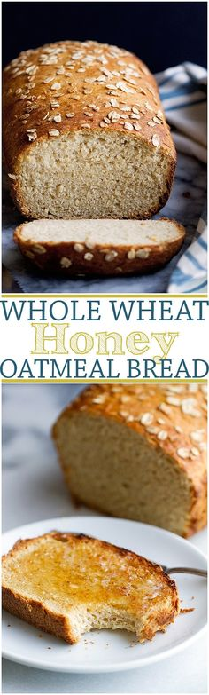 Whole Wheat Honey Oatmeal Bread - Check out the step-by-step pictures and learn how to make this bread ******Eat Whole Wheat Bread is much better for you than those White Breads ! Bread Machine Recipes, Bread Recipes, Baking Recipes, Honey Recipes, Baking Ideas, Oatmeal Bread Recipe, Honey Oat Bread, Sugar Bread, Cinnamon Bread