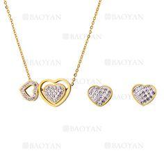 collar y aretes de corazones con cristal de dorado en acero para mujer-SSNEG323723
