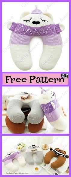DIY4EVER--- Crochet Loving Bear Travel Pillow Free Pattern #freepattern