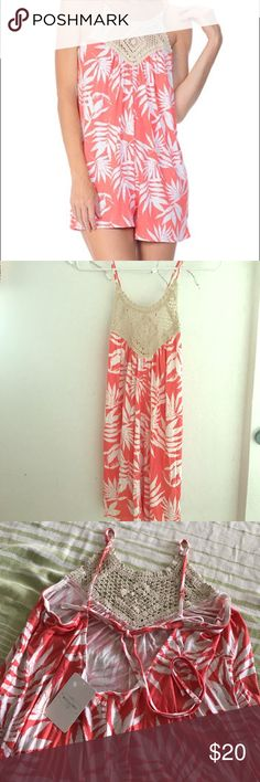 Coral Palmas romper *Sz L* Size large coral romper made of that nice slinky comfy material. Has crochet design at neck, low back and a tie that can tighten the length of straps. Reasonable offers accepted Swim Coverups