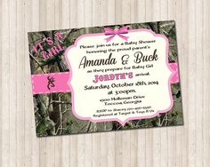 Camouflage Baby Girl Shower Invitation Country, trees, hunting