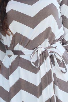 Mocha Chevron Short Dress