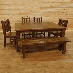 Our rough sawn pine dining set.  The look of reclaimed wood at a much more economical price. #rough #sawn #pine #dining #table