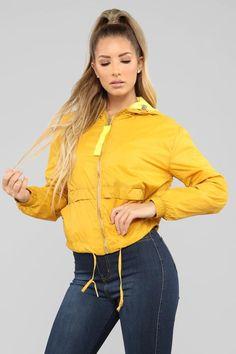 Pull Me Closer Windbreaker Jacket - Yellow Yellow Windbreaker, Windbreaker Jacket, Bomber Jacket, Casual Outfits, Fashion Outfits, Womens Fashion, Fashion Nova Models, Cut And Style, Black N Yellow