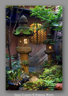 Small Japanese Garden - beautiful inspiration for quiet nightime garden spaces (gotta sneak in those mosquito-repellant lavender and rosemary plants first!)