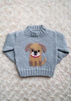 Intarsia – Doggy Chart – Childrens Sweater Knitting pattern by Instarsia – knitting charts Baby Boy Knitting Patterns, Baby Sweater Knitting Pattern, Intarsia Knitting, Baby Sweater Patterns, Knitting Charts, Knitting For Kids, Baby Patterns, Easy Knitting, Pixel Crochet Blanket