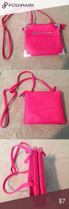 Pink Attention Purse NWOT Pink attention purse in perfect condition. Never been used. Three main pockets with additional pockets/card holders on the inside. Attention Bags Crossbody Bags
