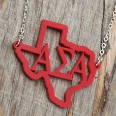 My State Necklace shown with TX and ΑΣΑ but for nc bc NC is better haha