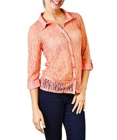 This Apricot Lace Button-Up Top is perfect! #zulilyfinds