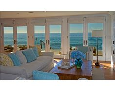 The view!  Nice teak loungers on deck.  Ocean color scheme.