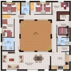 Hacienda Style built around courtyard. Casa de 4 quartos e patio interior Container Home Designs, Container House Plans, Free House Plans, Small House Plans, House Floor Plans, The Plan, How To Plan, Silo House, Patio Central