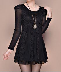 Stylish Scoop Neck Long Sleeves Lace Splicing Pleated Dress For Women