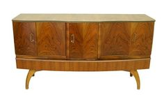 Mid Century high quality European bar, credenza with outstanding grain B009