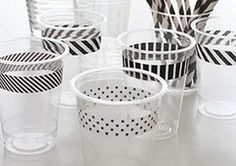 Have you been introduced to washi tape yet? Essentially, it's thin, patterned or colorful tape that is meant to decorate everything from scrap book pages to your next DIY project. They're so cute that folks are finding new ways to put them to use, including using the tapes as stylish drink markers at parties.