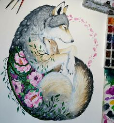 #wolf #drawing #flowers #alineymarques