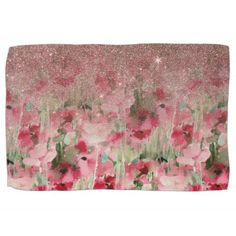 Pretty Faux Rose Gold Glitter on Watercolor Floral Hand Towel