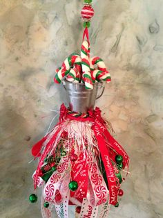 SALE  Candy Cane Christmas Tassel by JustHangingPretty on Etsy, $19.95