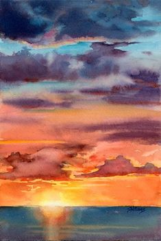 100 easy watercolor painting ideas for beginners watercolor - watercolor sunset for beginners Watercolor Sunset, Watercolor Landscape Paintings, Painting Art, Watercolor Ideas, Watercolor Projects, Sunset Art, Sunset Painting Easy, Watercolor Paintings For Beginners, Acrylic Paintings